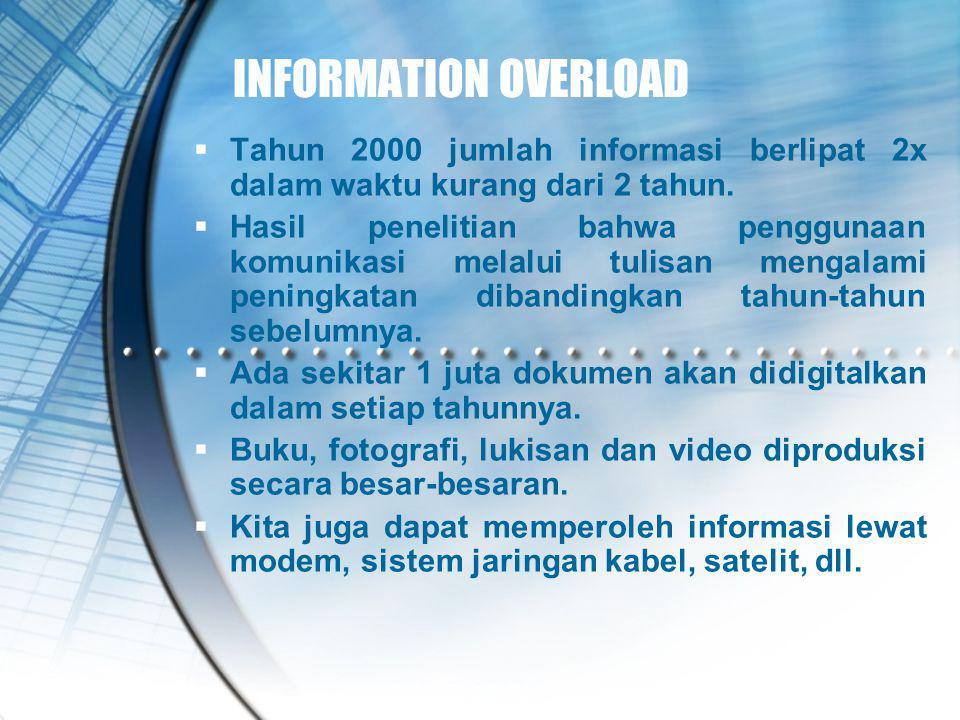 INFORMATION OVERLOAD  Tahun 2000 jumlah informasi berlipat 2x dalam waktu kurang dari 2 tahun.  Hasil penelitian bahwa penggunaan komunikasi melalui