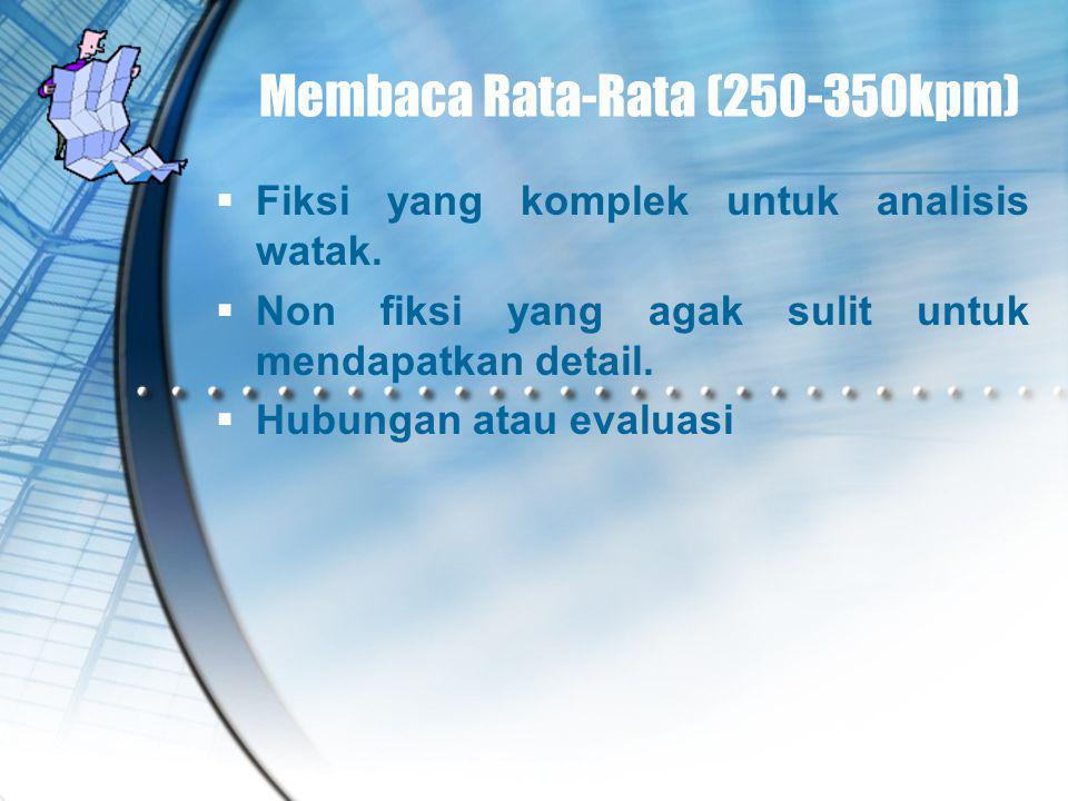 Membaca Rata-Rata (250-350kpm)  Fiksi yang komplek untuk analisis watak.  Non fiksi yang agak sulit untuk mendapatkan detail.  Hubungan atau evalua