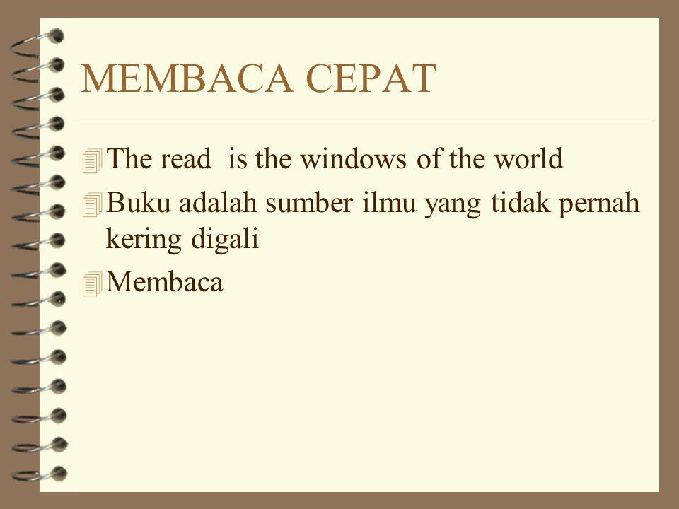MEMBACA CEPAT 4 The read is the windows of the world 4 Buku adalah sumber ilmu yang tidak pernah kering digali 4 Membaca