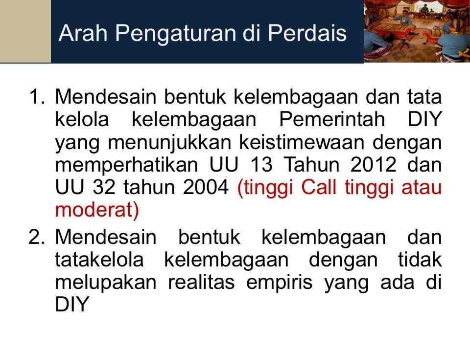 34 1.Mendesain bentuk kelembagaan dan tata kelola kelembagaan Pemerintah DIY yang menunjukkan keistimewaan dengan memperhatikan UU 13 Tahun 2012 dan U