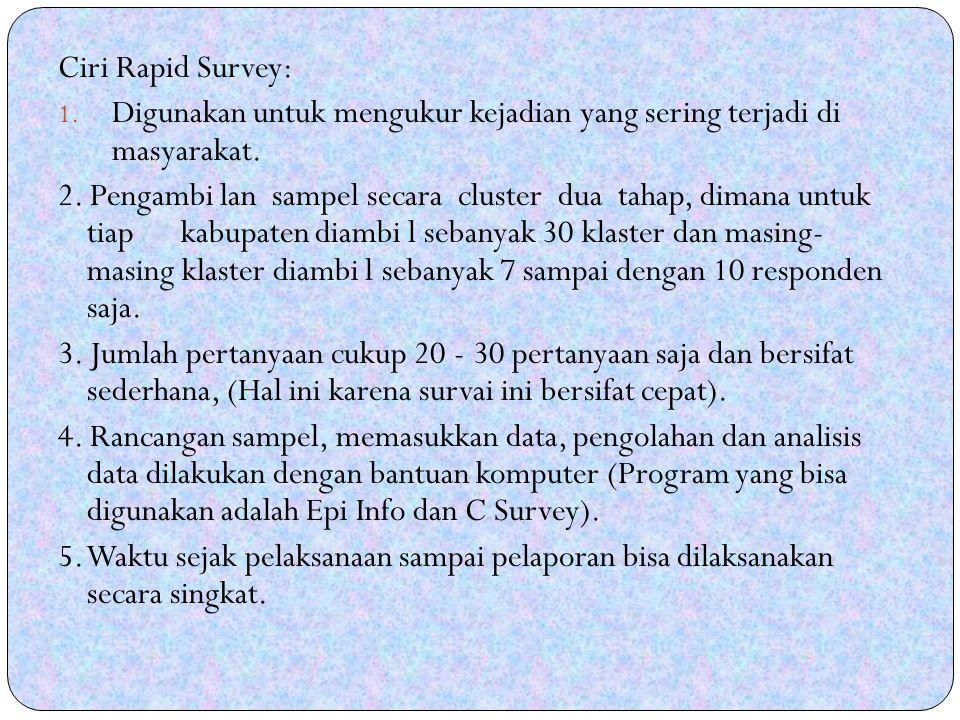 Ciri Rapid Survey: 1.Digunakan untuk mengukur kejadian yang sering terjadi di masyarakat.