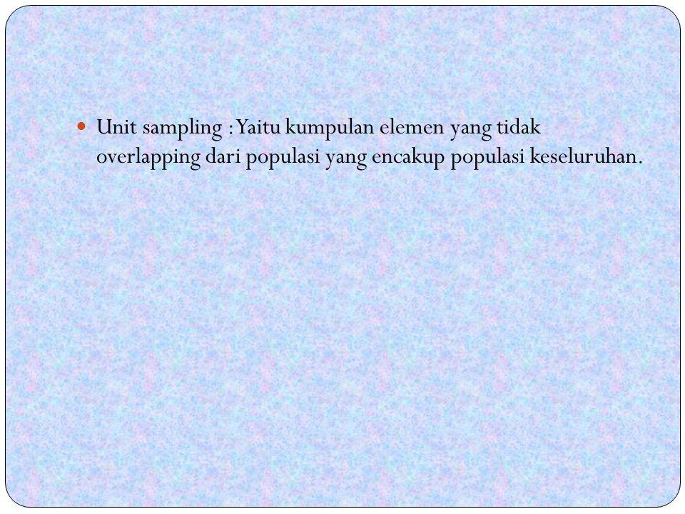 Unit sampling : Yaitu kumpulan elemen yang tidak overlapping dari populasi yang encakup populasi keseluruhan.