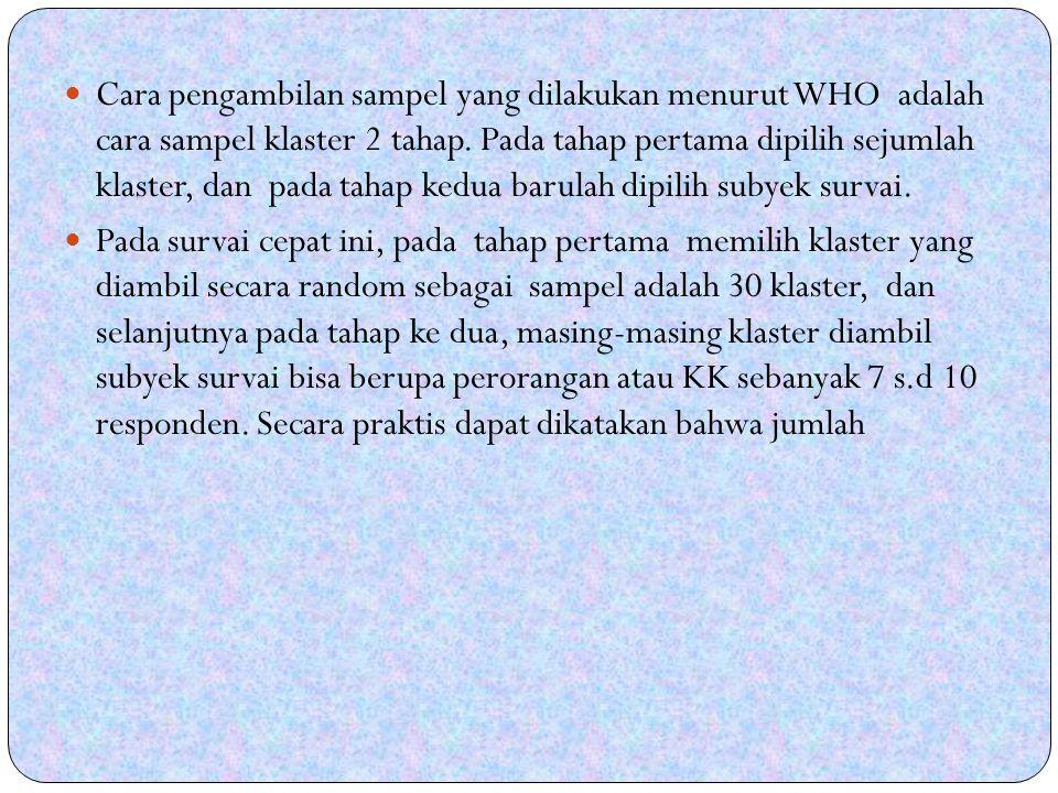 Cara pengambilan sampel yang dilakukan menurut WHO adalah cara sampel klaster 2 tahap.