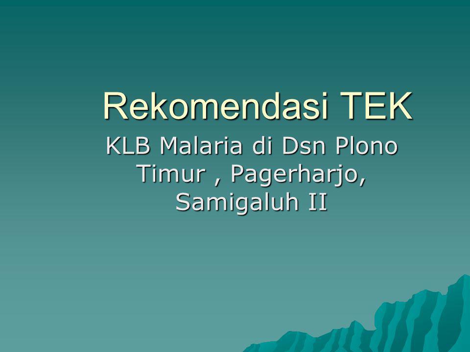 Rekomendasi TEK KLB Malaria di Dsn Plono Timur, Pagerharjo, Samigaluh II