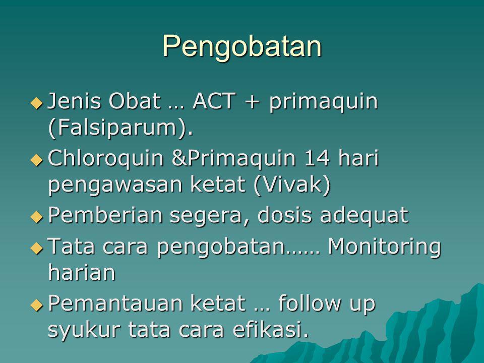 Pengobatan  Jenis Obat … ACT + primaquin (Falsiparum).
