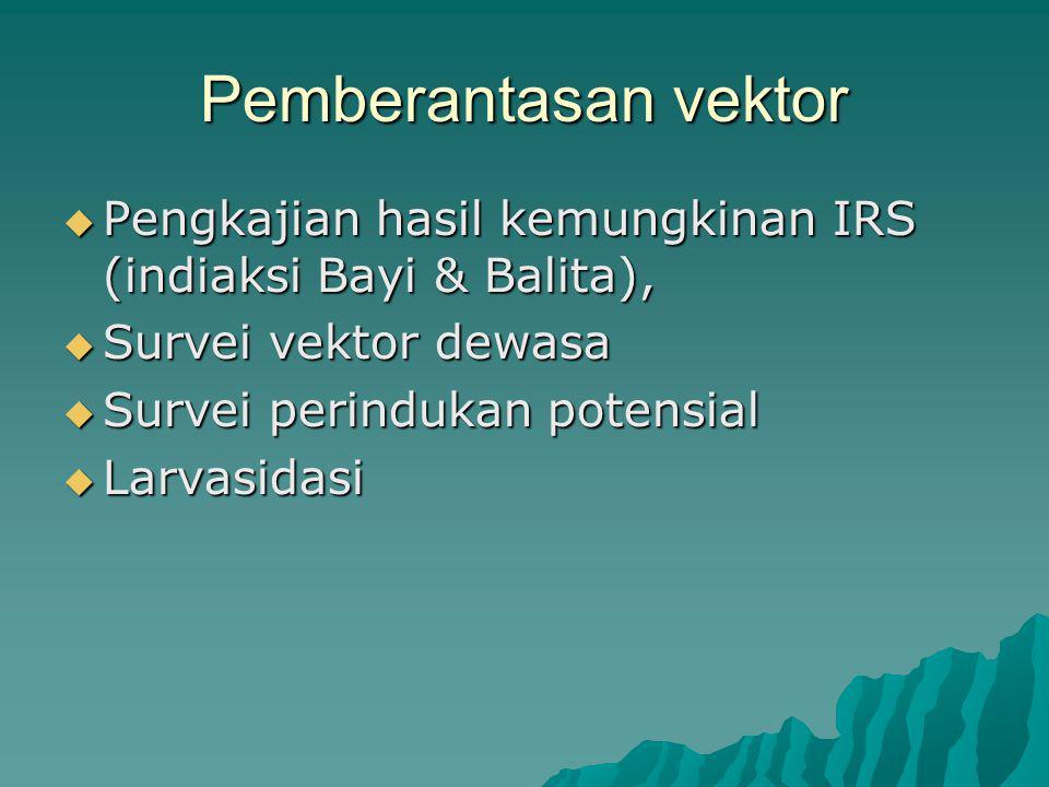 Pemberantasan vektor  Pengkajian hasil kemungkinan IRS (indiaksi Bayi & Balita),  Survei vektor dewasa  Survei perindukan potensial  Larvasidasi