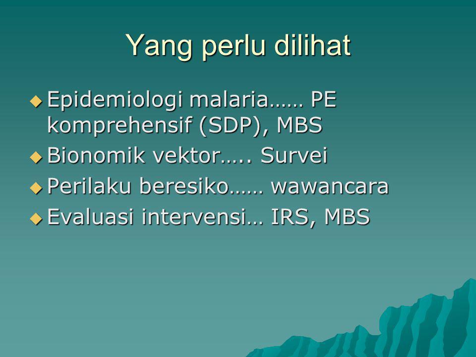 Yang perlu dilihat  Epidemiologi malaria…… PE komprehensif (SDP), MBS  Bionomik vektor…..