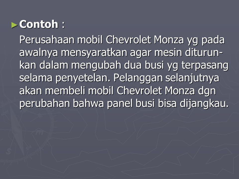 ► Contoh : Perusahaan mobil Chevrolet Monza yg pada awalnya mensyaratkan agar mesin diturun- kan dalam mengubah dua busi yg terpasang selama penyetela