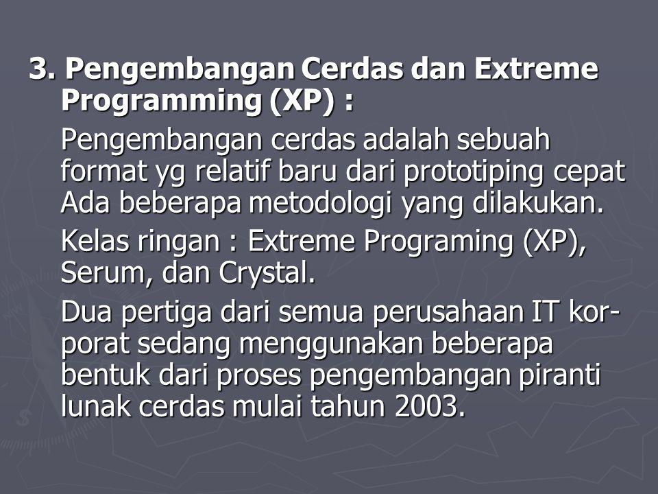 3. Pengembangan Cerdas dan Extreme Programming (XP) : Pengembangan cerdas adalah sebuah format yg relatif baru dari prototiping cepat Ada beberapa met