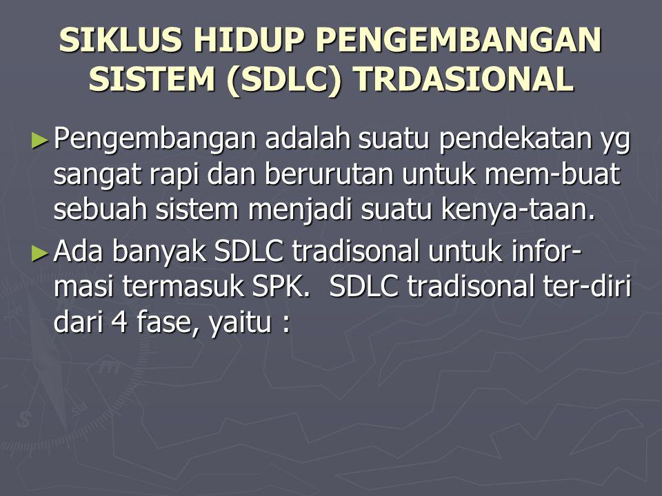 SIKLUS HIDUP PENGEMBANGAN SISTEM (SDLC) TRDASIONAL ► Pengembangan adalah suatu pendekatan yg sangat rapi dan berurutan untuk mem-buat sebuah sistem me