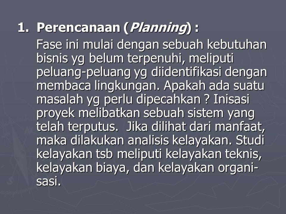 1. Perencanaan (Planning) : Fase ini mulai dengan sebuah kebutuhan bisnis yg belum terpenuhi, meliputi peluang-peluang yg diidentifikasi dengan membac