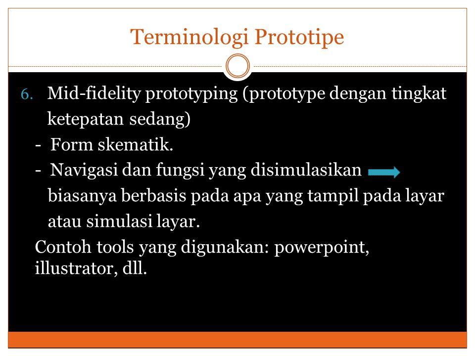 Terminologi Prototipe 6. Mid-fidelity prototyping (prototype dengan tingkat ketepatan sedang) - Form skematik. - Navigasi dan fungsi yang disimulasika