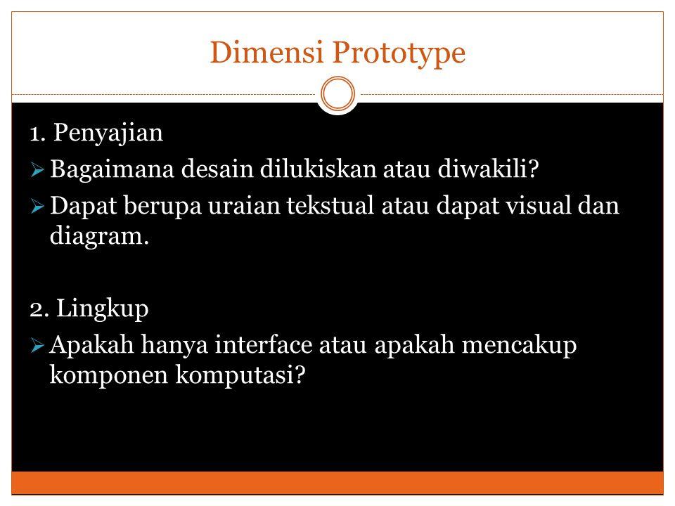 Dimensi Prototype 3.Executability (Dapat dijalankan)  Dapatkah prototype tersebut dijalankan.