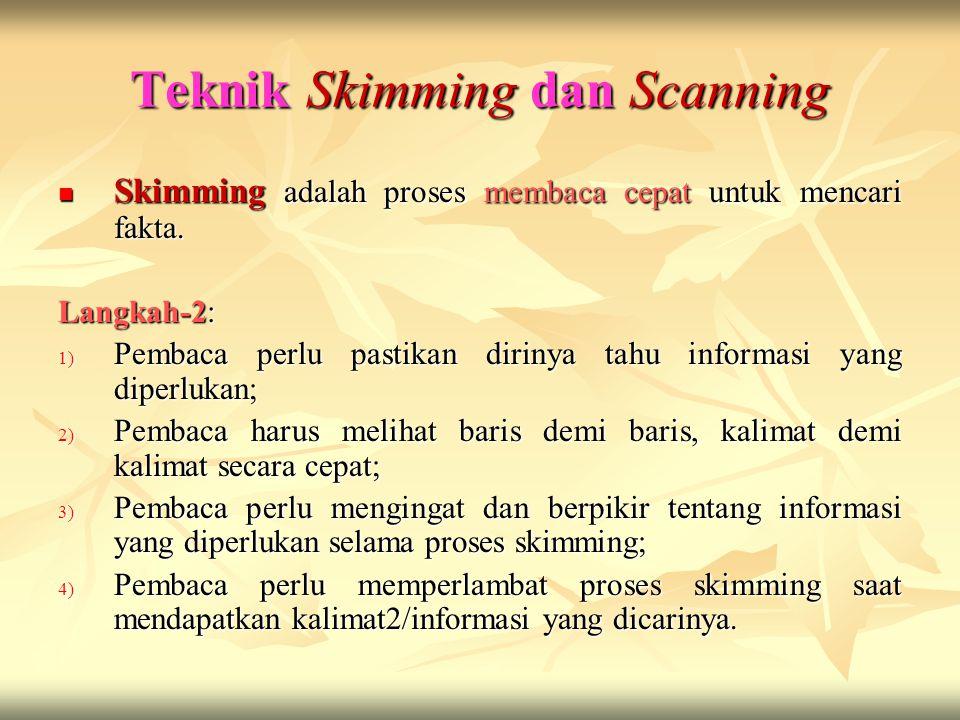 Teknik Skimming dan Scanning Skimming adalah proses membaca cepat untuk mencari fakta. Skimming adalah proses membaca cepat untuk mencari fakta. Langk