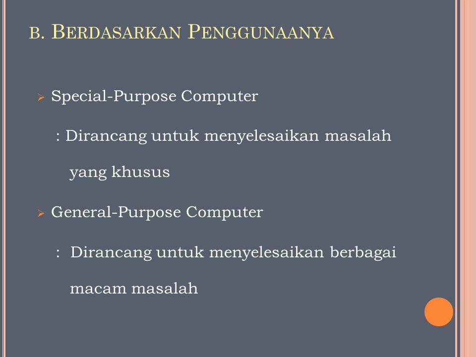 B. B ERDASARKAN P ENGGUNAANYA  Special-Purpose Computer : Dirancang untuk menyelesaikan masalah yang khusus  General-Purpose Computer : Dirancang un