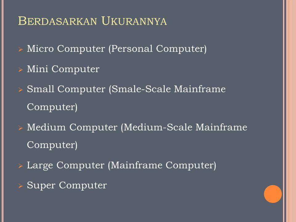 B ERDASARKAN U KURANNYA  Micro Computer (Personal Computer)  Mini Computer  Small Computer (Smale-Scale Mainframe Computer)  Medium Computer (Medi