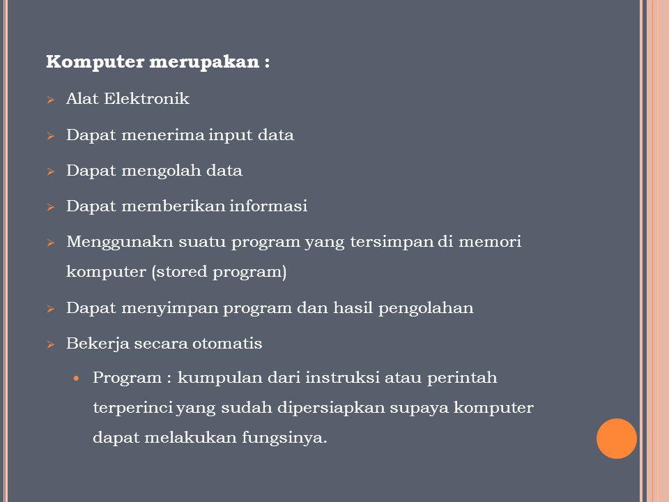 Komputer merupakan :  Alat Elektronik  Dapat menerima input data  Dapat mengolah data  Dapat memberikan informasi  Menggunakn suatu program yang