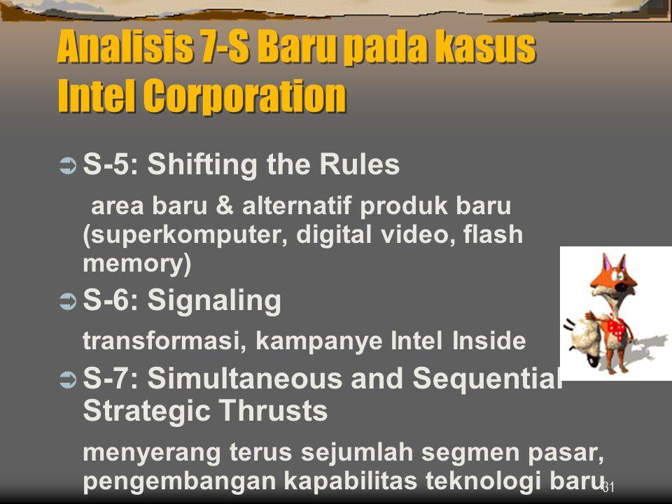 31 Analisis 7-S Baru pada kasus Intel Corporation  S-5: Shifting the Rules area baru & alternatif produk baru (superkomputer, digital video, flash memory)  S-6: Signaling transformasi, kampanye Intel Inside  S-7: Simultaneous and Sequential Strategic Thrusts menyerang terus sejumlah segmen pasar, pengembangan kapabilitas teknologi baru