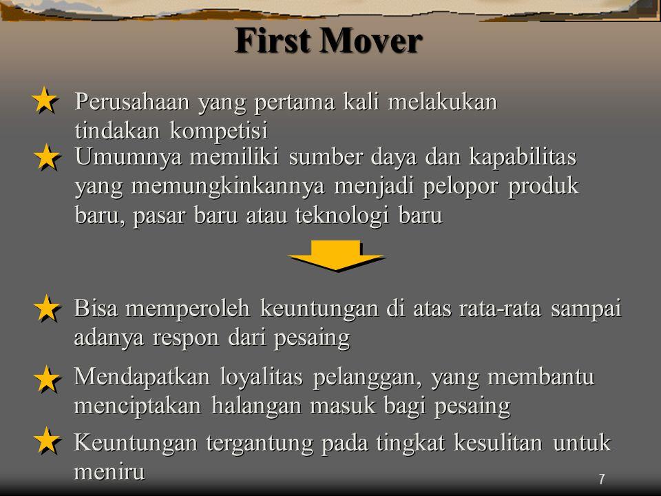 7 First Mover Perusahaan yang pertama kali melakukan tindakan kompetisi Umumnya memiliki sumber daya dan kapabilitas yang memungkinkannya menjadi pelopor produk baru, pasar baru atau teknologi baru Bisa memperoleh keuntungan di atas rata-rata sampai adanya respon dari pesaing Mendapatkan loyalitas pelanggan, yang membantu menciptakan halangan masuk bagi pesaing Keuntungan tergantung pada tingkat kesulitan untuk meniru