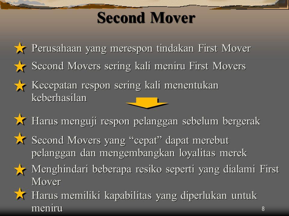 8 Second Mover Perusahaan yang merespon tindakan First Mover Second Movers sering kali meniru First Movers Kecepatan respon sering kali menentukan keberhasilan Harus menguji respon pelanggan sebelum bergerak Second Movers yang cepat dapat merebut pelanggan dan mengembangkan loyalitas merek Menghindari beberapa resiko seperti yang dialami First Mover Harus memiliki kapabilitas yang diperlukan untuk meniru