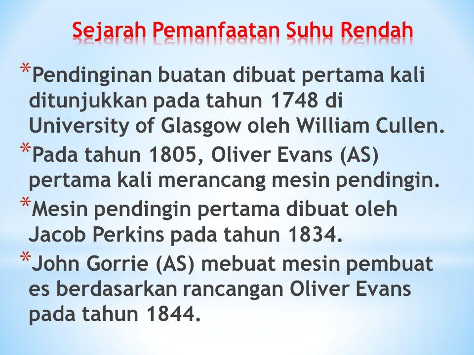 * Pendinginan buatan dibuat pertama kali ditunjukkan pada tahun 1748 di University of Glasgow oleh William Cullen. * Pada tahun 1805, Oliver Evans (AS
