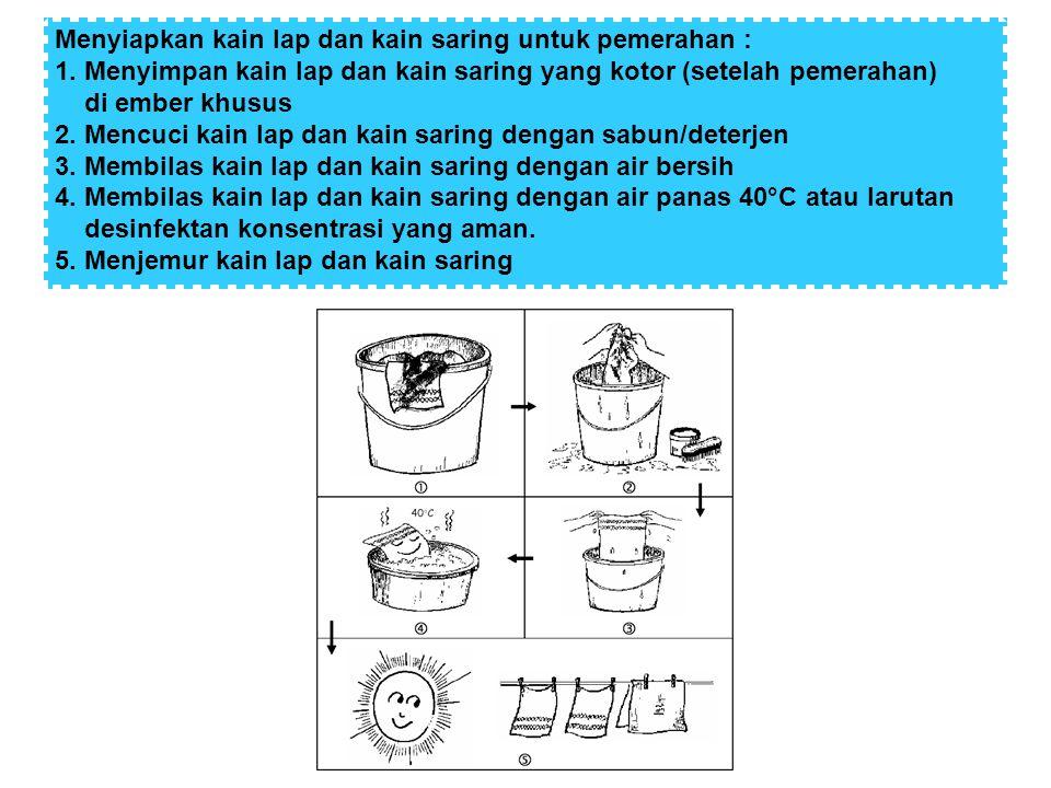 Menyiapkan kain lap dan kain saring untuk pemerahan : 1. Menyimpan kain lap dan kain saring yang kotor (setelah pemerahan) di ember khusus 2. Mencuci