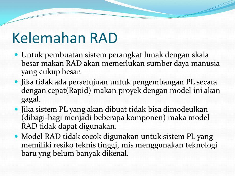 Kelemahan RAD Untuk pembuatan sistem perangkat lunak dengan skala besar makan RAD akan memerlukan sumber daya manusia yang cukup besar. Jika tidak ada
