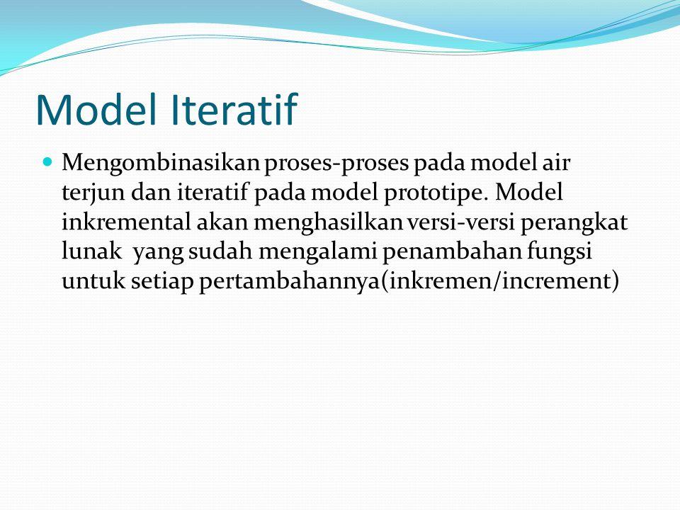 Model Iteratif Mengombinasikan proses-proses pada model air terjun dan iteratif pada model prototipe. Model inkremental akan menghasilkan versi-versi
