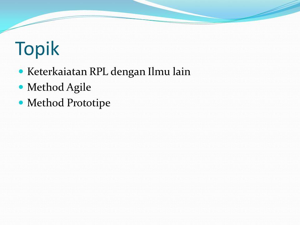 Topik Keterkaiatan RPL dengan Ilmu lain Method Agile Method Prototipe