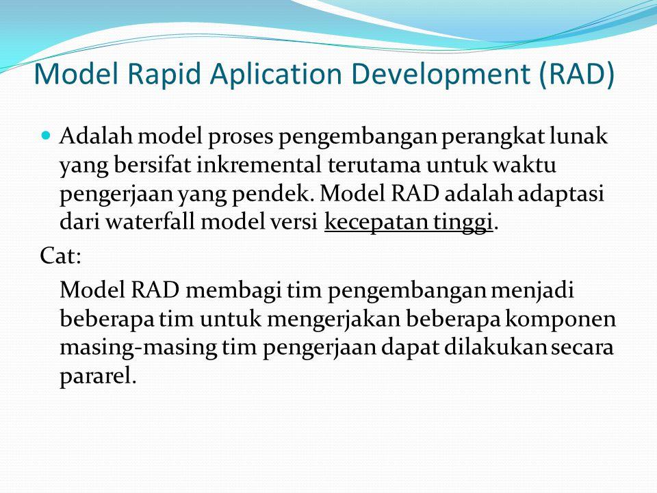 Model Rapid Aplication Development (RAD) Adalah model proses pengembangan perangkat lunak yang bersifat inkremental terutama untuk waktu pengerjaan ya