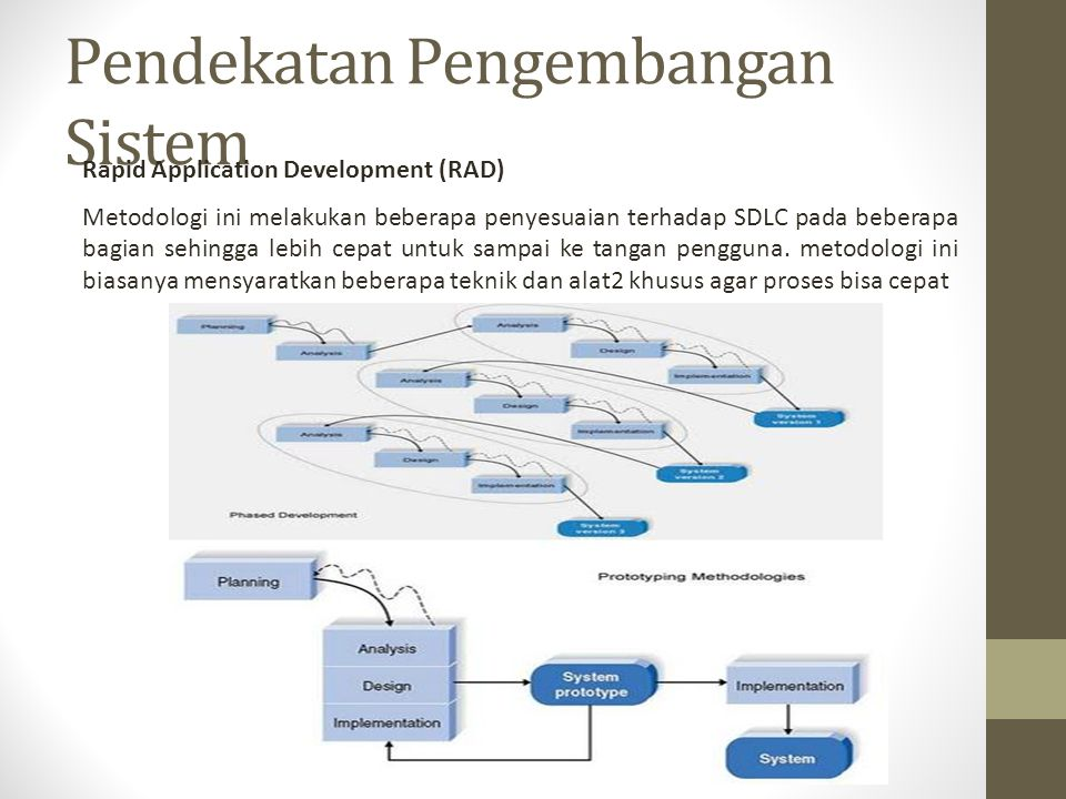 Pendekatan Pengembangan Sistem Rapid Application Development (RAD) Metodologi ini melakukan beberapa penyesuaian terhadap SDLC pada beberapa bagian se