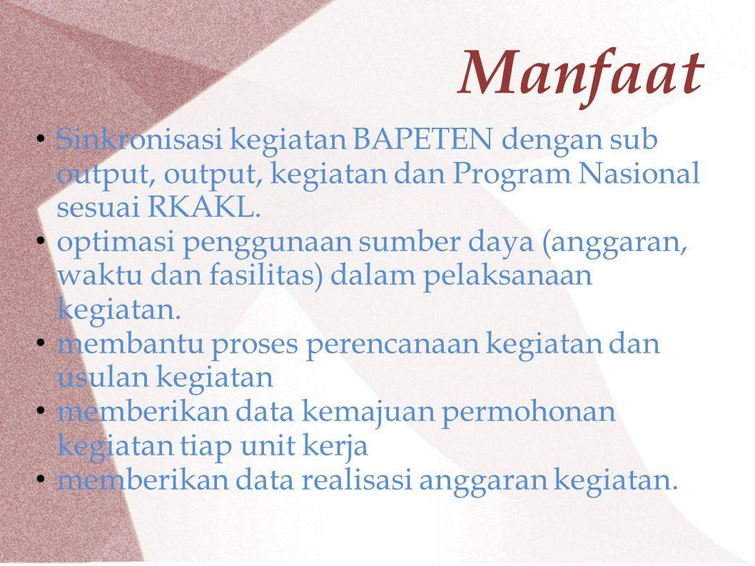 Manfaat Sinkronisasi kegiatan BAPETEN dengan sub output, output, kegiatan dan Program Nasional sesuai RKAKL. optimasi penggunaan sumber daya (anggaran