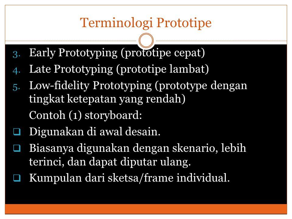 Terminologi Prototipe 3. Early Prototyping (prototipe cepat) 4.