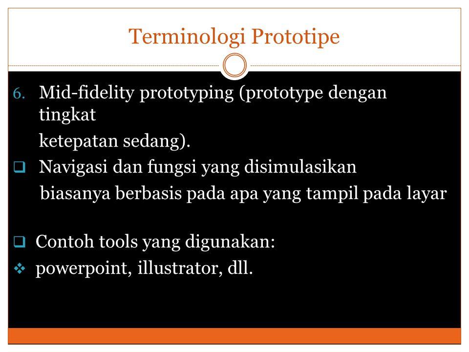Terminologi Prototipe 6. Mid-fidelity prototyping (prototype dengan tingkat ketepatan sedang).