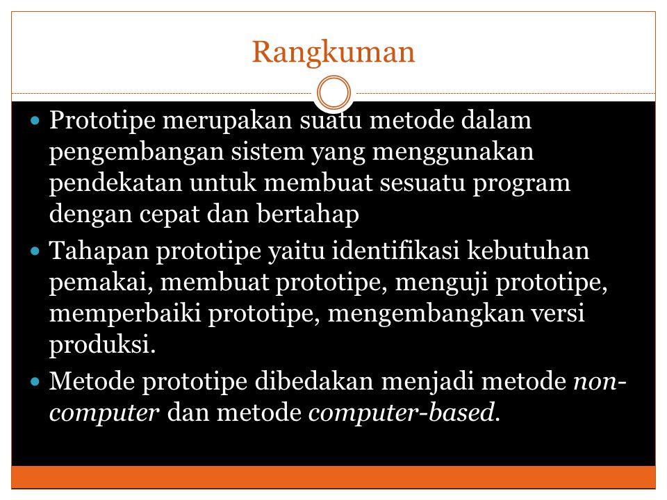 Rangkuman Prototipe merupakan suatu metode dalam pengembangan sistem yang menggunakan pendekatan untuk membuat sesuatu program dengan cepat dan bertahap Tahapan prototipe yaitu identifikasi kebutuhan pemakai, membuat prototipe, menguji prototipe, memperbaiki prototipe, mengembangkan versi produksi.