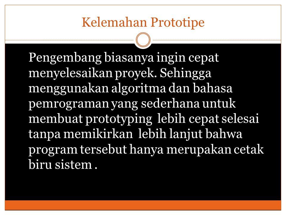 Kelemahan Prototipe Pengembang biasanya ingin cepat menyelesaikan proyek.
