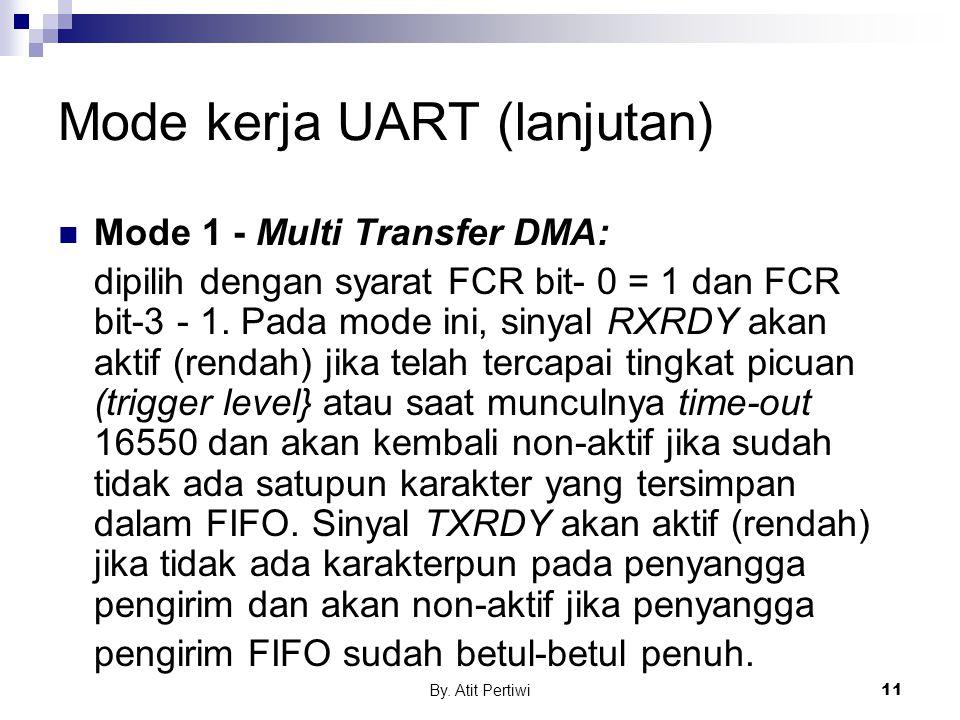 By. Atit Pertiwi11 Mode kerja UART (lanjutan) Mode 1 - Multi Transfer DMA: dipilih dengan syarat FCR bit- 0 = 1 dan FCR bit-3 - 1. Pada mode ini, siny