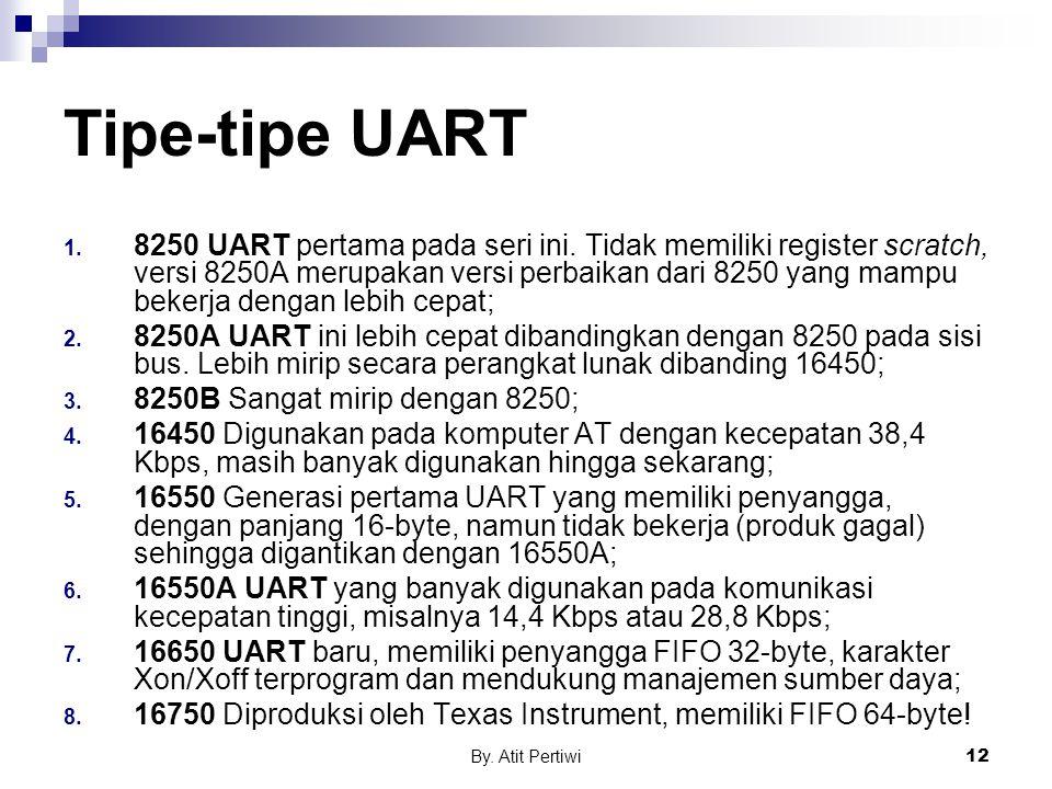 By. Atit Pertiwi12 Tipe-tipe UART 1. 8250 UART pertama pada seri ini. Tidak memiliki register scratch, versi 8250A merupakan versi perbaikan dari 8250