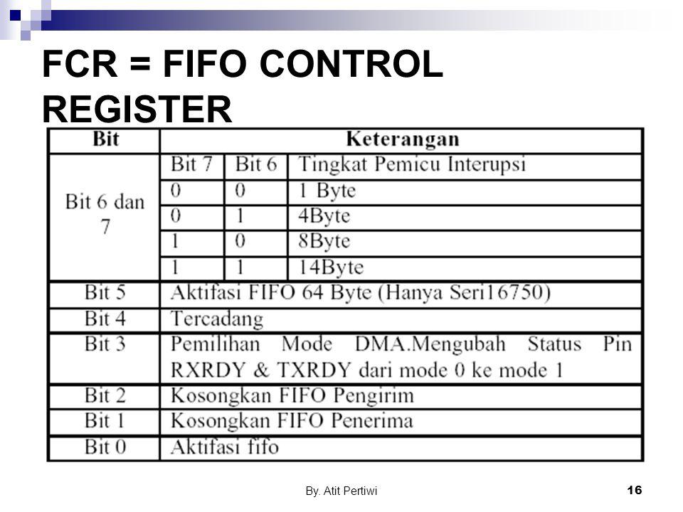 By. Atit Pertiwi16 FCR = FIFO CONTROL REGISTER