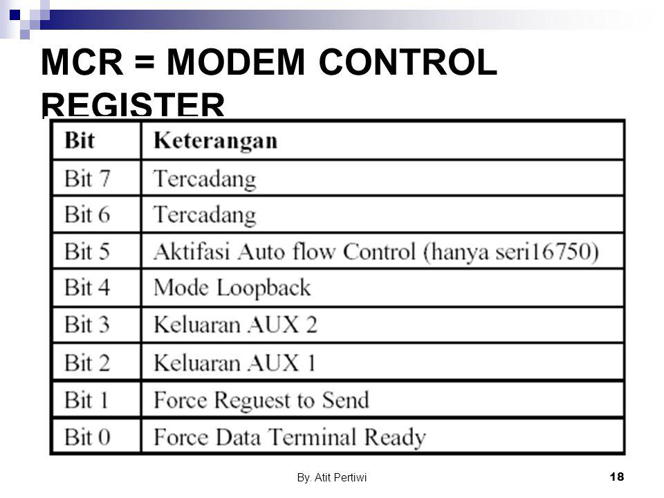 By. Atit Pertiwi18 MCR = MODEM CONTROL REGISTER