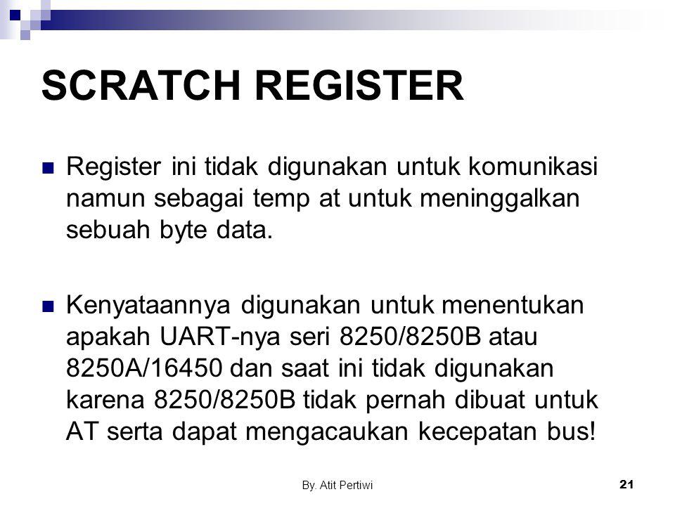 By. Atit Pertiwi21 SCRATCH REGISTER Register ini tidak digunakan untuk komunikasi namun sebagai temp at untuk meninggalkan sebuah byte data. Kenyataan