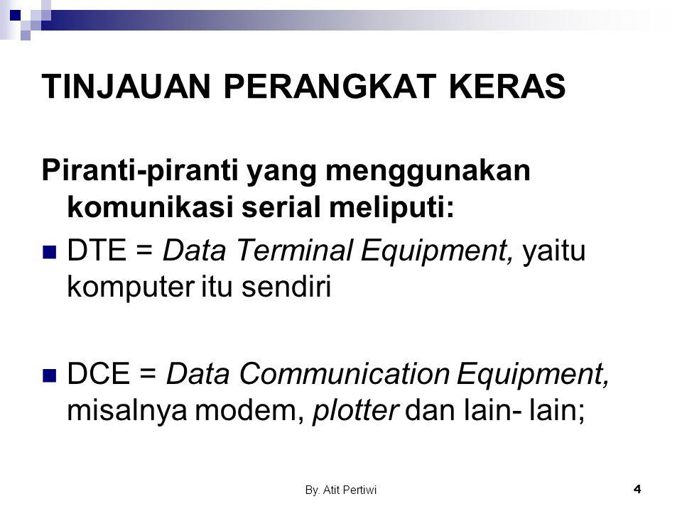 By. Atit Pertiwi4 TINJAUAN PERANGKAT KERAS Piranti-piranti yang menggunakan komunikasi serial meliputi: DTE = Data Terminal Equipment, yaitu komputer