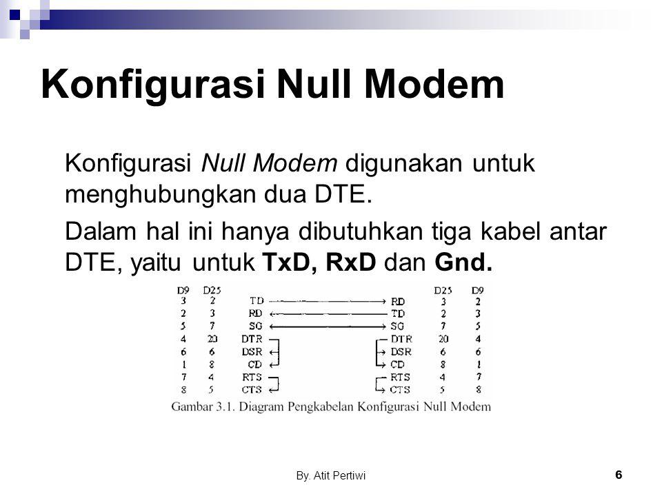 By. Atit Pertiwi6 Konfigurasi Null Modem Konfigurasi Null Modem digunakan untuk menghubungkan dua DTE. Dalam hal ini hanya dibutuhkan tiga kabel antar