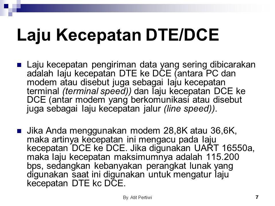 By. Atit Pertiwi7 Laju Kecepatan DTE/DCE Laju kecepatan pengiriman data yang sering dibicarakan adalah Iaju kecepatan DTE ke DCE (antara PC dan modem