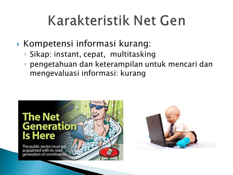  Kompetensi informasi kurang: ◦ Sikap: instant, cepat, multitasking ◦ pengetahuan dan keterampilan untuk mencari dan mengevaluasi informasi: kurang