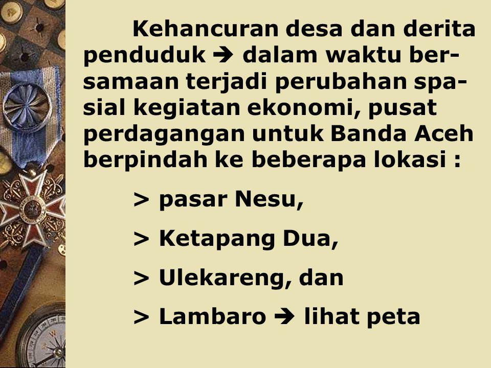Becana Tsunami yang dahsyat itu, telah menelan korban :  penduduk 170.000 jiwa,  harta benda US $ 4,5 M, (setara 2,3 % X PDB nasional = 97 % X PDRB Aceh),  secara spasial : 506 dari 5.736 desa hancur  dam- pak langsung 468.823 jiwa dari 4.054.191 pen- duduk Aceh.