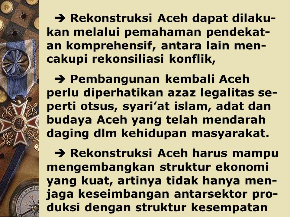 Selain dari hal-hal tsb dalam membangun kembali daerah paska bencana, perlu dipegang beberapa perinsip mendasar, antara lain :  Arus dana yang mengalir utk membangun kembali Aceh (capital Inflow) penggunaannya haruslah didasarka blue print, jangka pan- jang, menengah, dan rencana tahunan yang berkelanjutan.