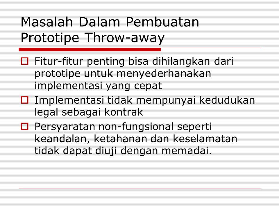 Masalah Dalam Pembuatan Prototipe Throw-away  Fitur-fitur penting bisa dihilangkan dari prototipe untuk menyederhanakan implementasi yang cepat  Imp