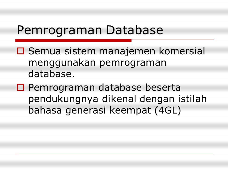 Pemrograman Database  Semua sistem manajemen komersial menggunakan pemrograman database.  Pemrograman database beserta pendukungnya dikenal dengan i