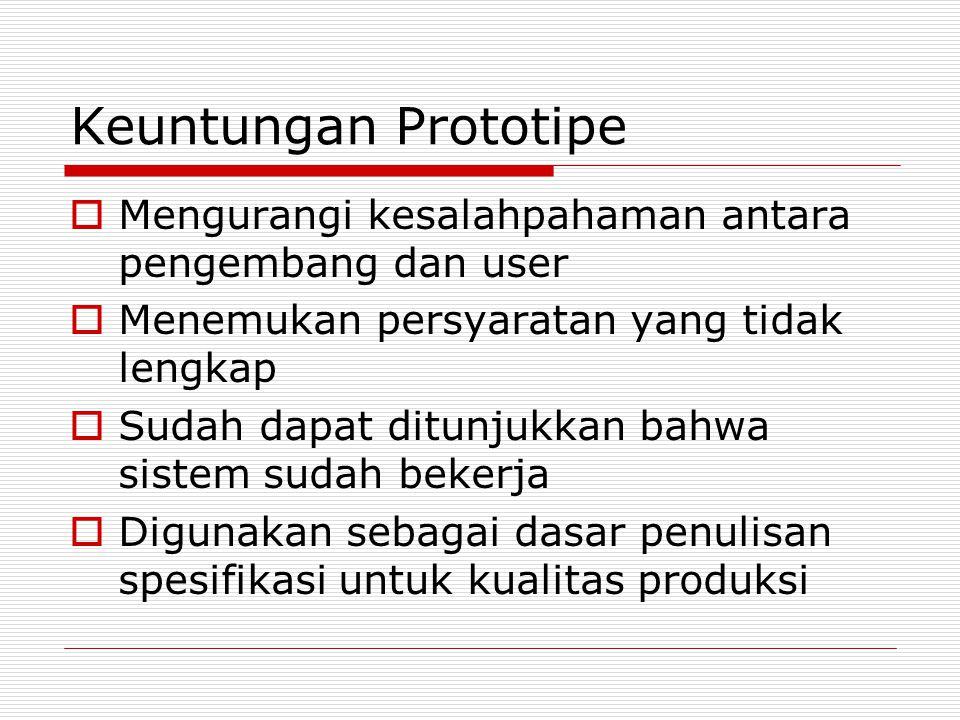 Keuntungan Prototipe  Mengurangi kesalahpahaman antara pengembang dan user  Menemukan persyaratan yang tidak lengkap  Sudah dapat ditunjukkan bahwa